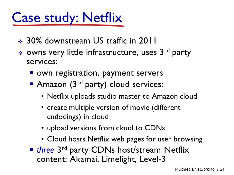 Case study: Netflix 30% downstream US traffic in 2011