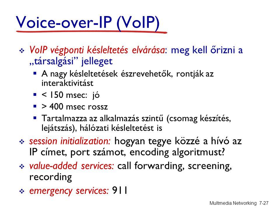 """Voice-over-IP (VoIP) VoIP végponti késleltetés elvárása: meg kell őrizni a """"társalgási jelleget."""