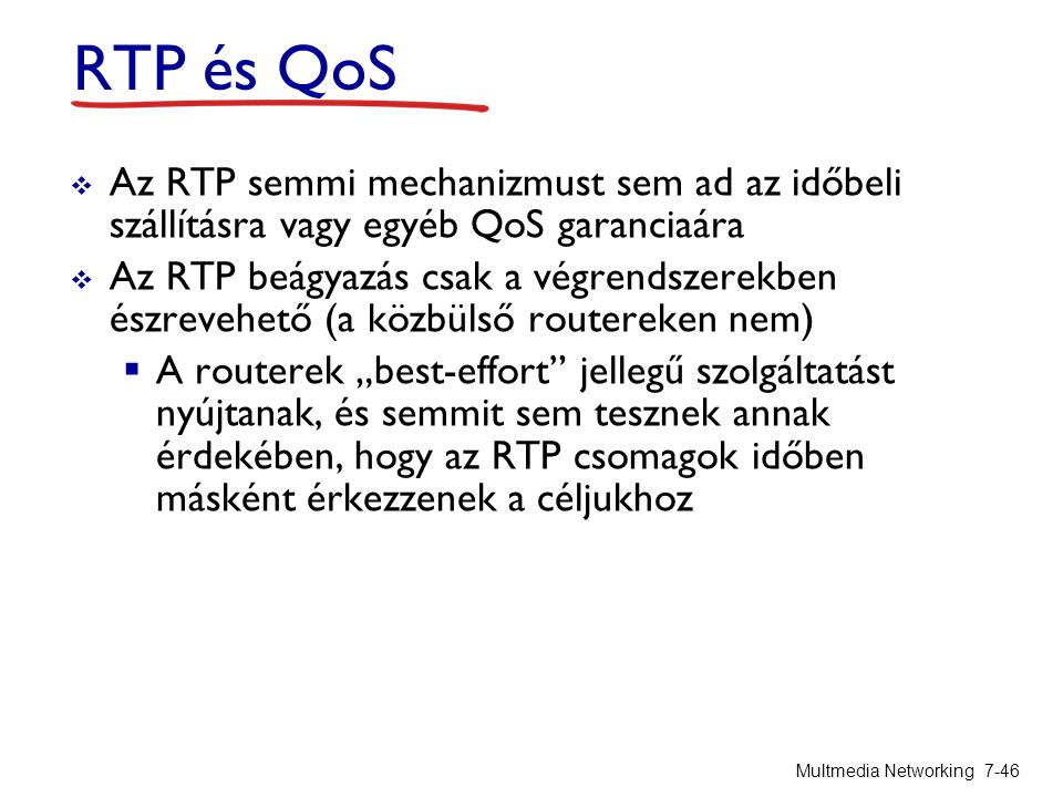 RTP és QoS Az RTP semmi mechanizmust sem ad az időbeli szállításra vagy egyéb QoS garanciaára.