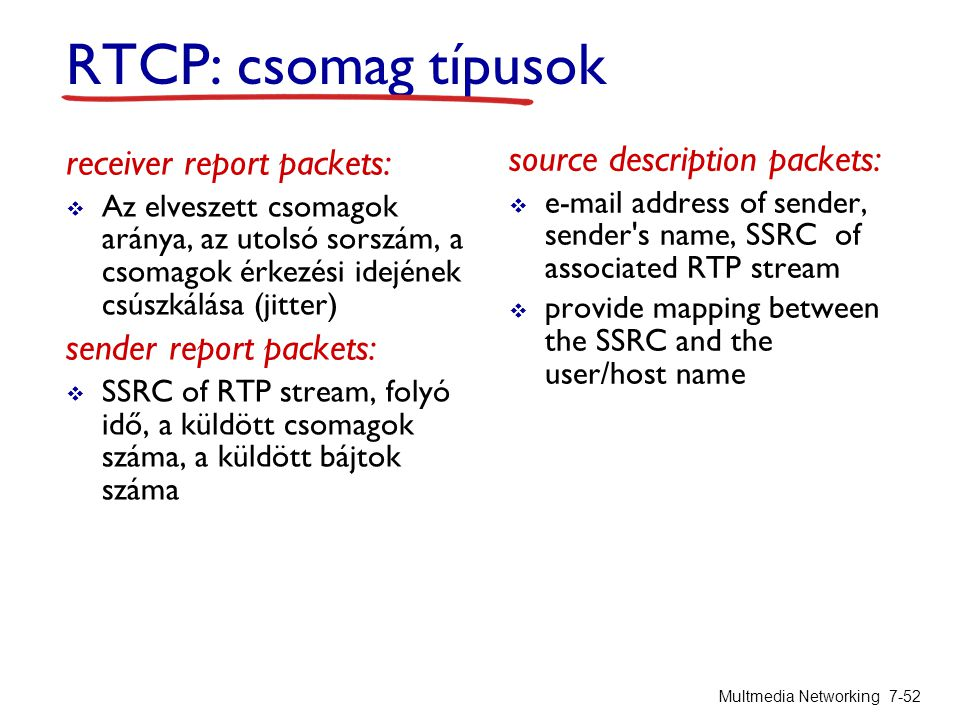 RTCP: csomag típusok source description packets: