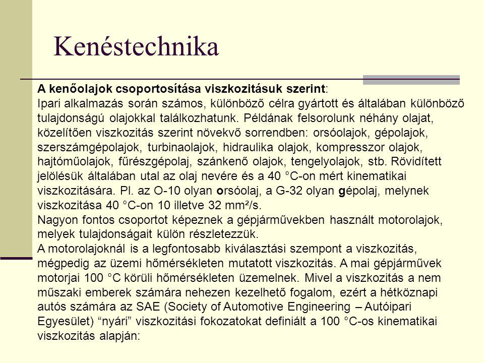 Kenéstechnika A kenőolajok csoportosítása viszkozitásuk szerint:
