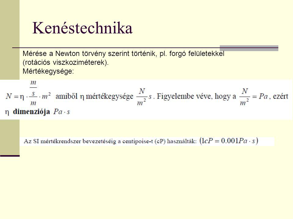 Kenéstechnika Mérése a Newton törvény szerint történik, pl. forgó felületekkel. (rotációs viszkoziméterek).