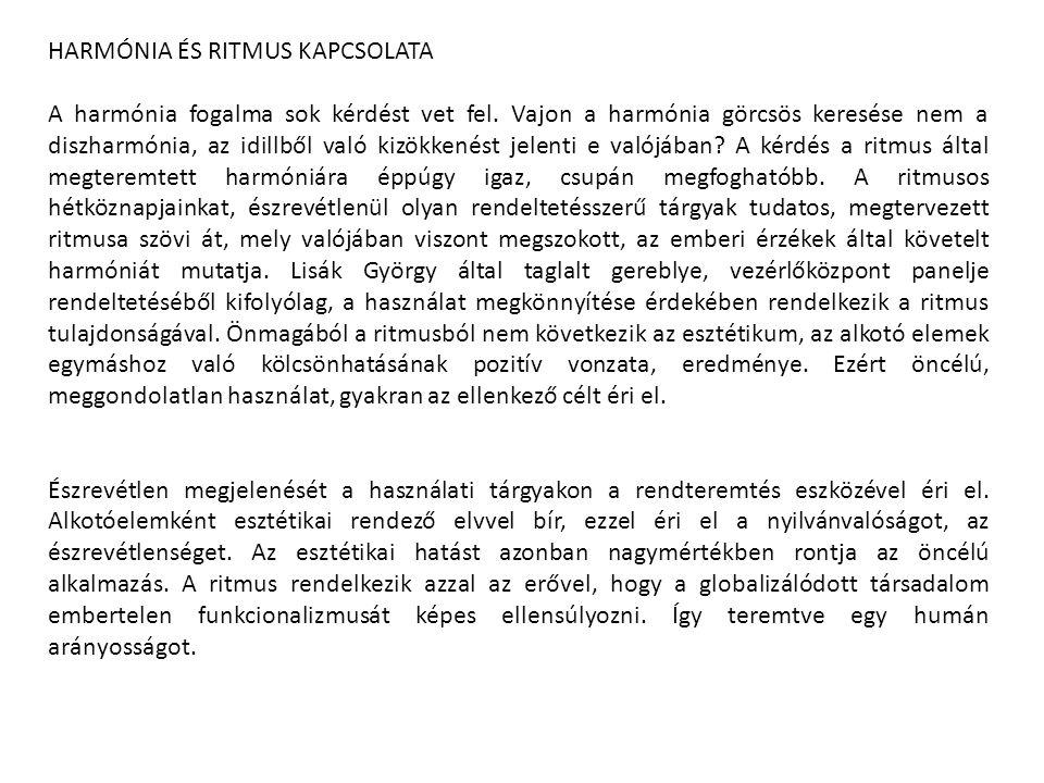 HARMÓNIA ÉS RITMUS KAPCSOLATA
