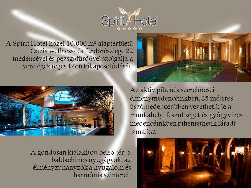 A Spirit Hotel közel 10.000 m² alapterületű Oázis wellness- és fürdőrészlege 22 medencével és pezsgőfürdővel szolgálja a vendégek teljes körű kikapcsolódását.