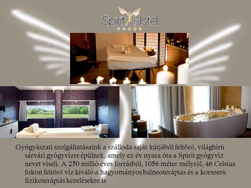 Gyógyászati szolgáltatásaink a szálloda saját kútjából feltörő, világhírű sárvári gyógyvízre épülnek, amely ez év nyara óta a Spirit gyógyvíz nevet viseli.