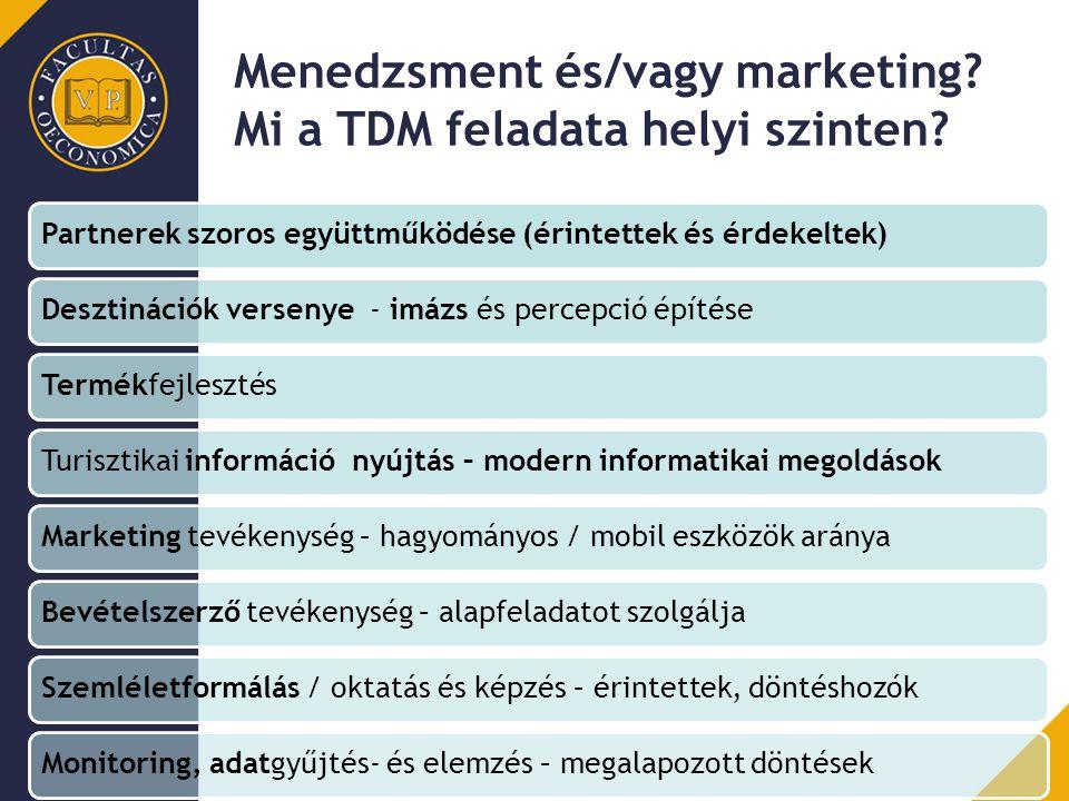 Menedzsment és/vagy marketing Mi a TDM feladata helyi szinten