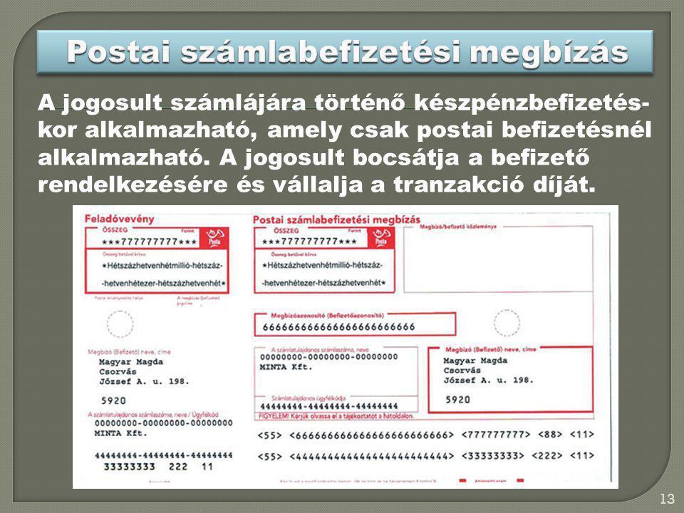 Postai számlabefizetési megbízás