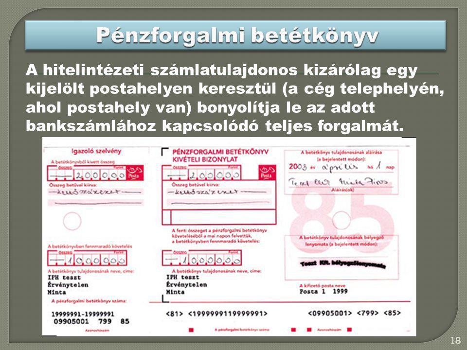 Pénzforgalmi betétkönyv