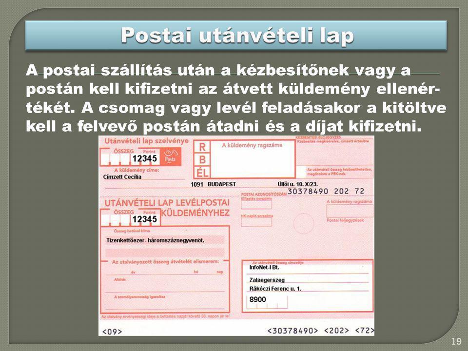 Postai utánvételi lap