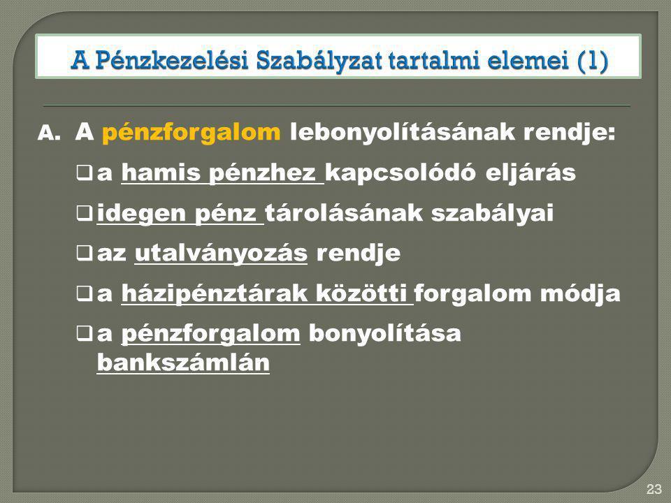 A Pénzkezelési Szabályzat tartalmi elemei (1)