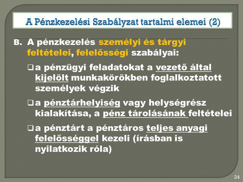 A Pénzkezelési Szabályzat tartalmi elemei (2)