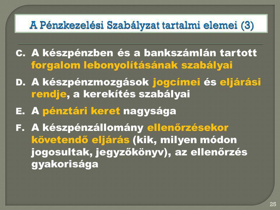 A Pénzkezelési Szabályzat tartalmi elemei (3)