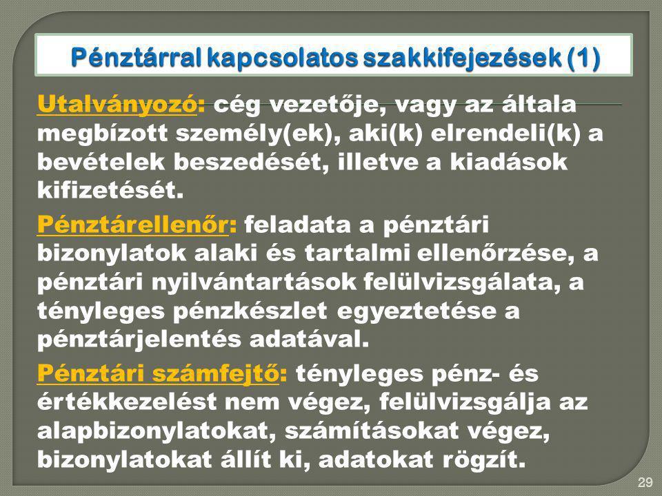 Pénztárral kapcsolatos szakkifejezések (1)