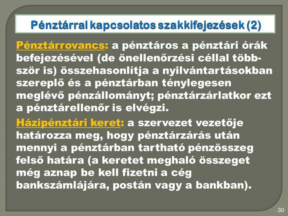 Pénztárral kapcsolatos szakkifejezések (2)