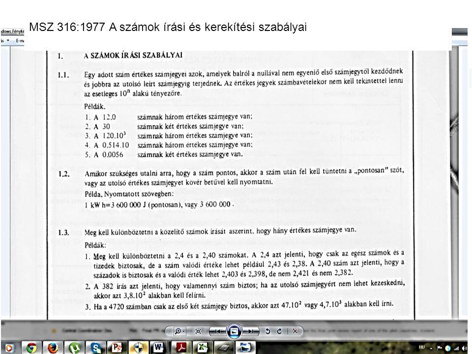 MSZ 316:1977 A számok írási és kerekítési szabályai