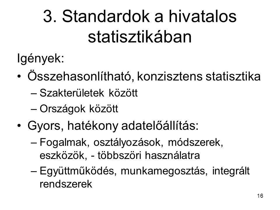 3. Standardok a hivatalos statisztikában