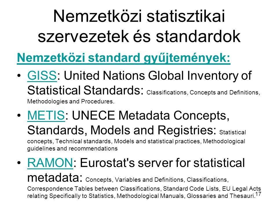 Nemzetközi statisztikai szervezetek és standardok