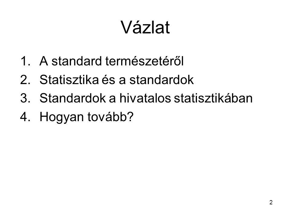 Vázlat A standard természetéről Statisztika és a standardok