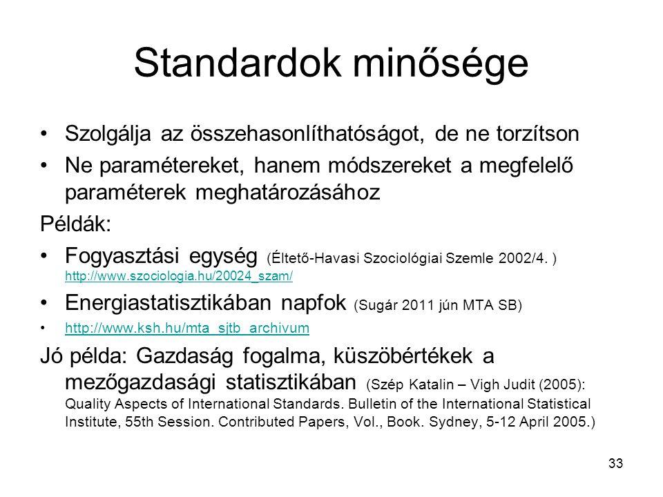 Standardok minősége Szolgálja az összehasonlíthatóságot, de ne torzítson.