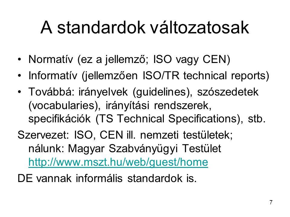 A standardok változatosak