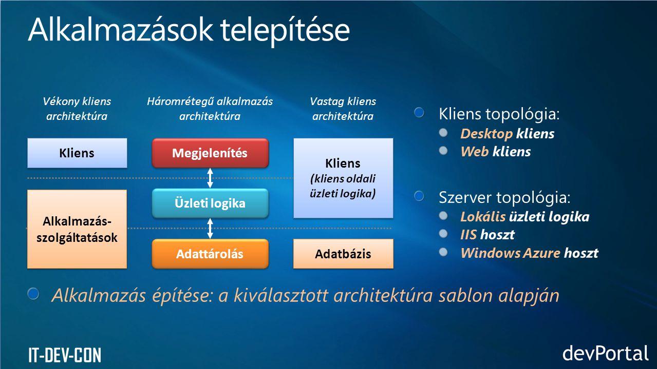 (kliens oldali üzleti logika) Alkalmazás-szolgáltatások