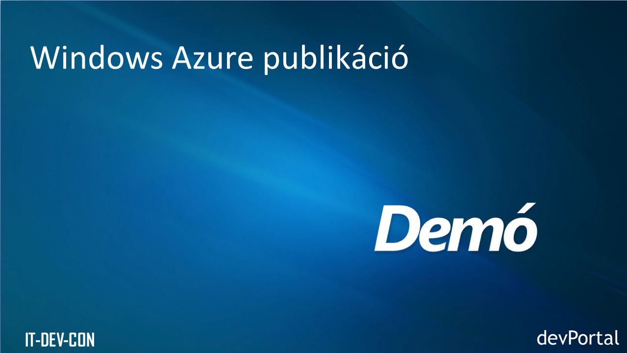 Windows Azure publikáció