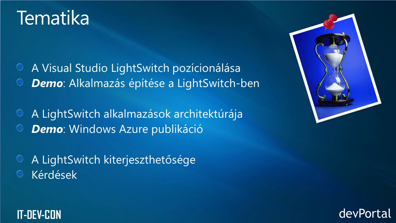 Tematika A Visual Studio LightSwitch pozícionálása