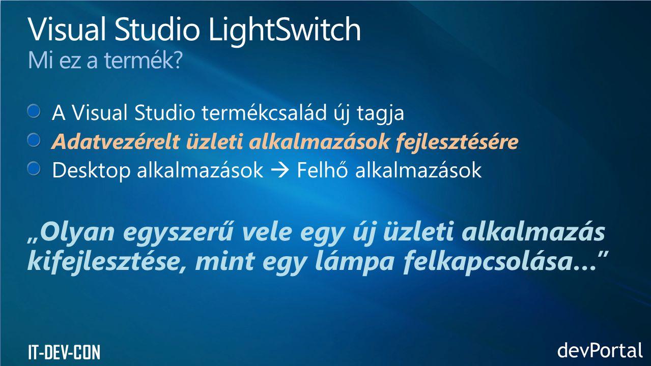 Visual Studio LightSwitch Mi ez a termék