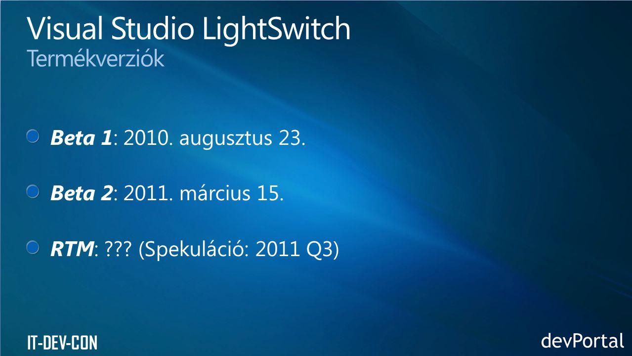 Visual Studio LightSwitch Termékverziók