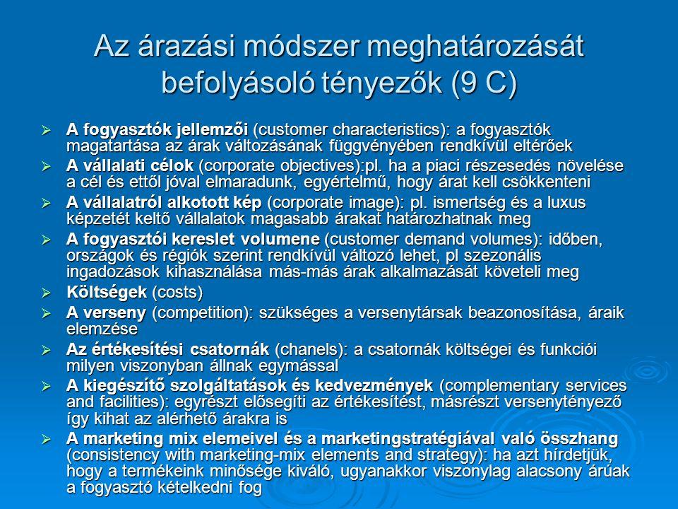 Az árazási módszer meghatározását befolyásoló tényezők (9 C)