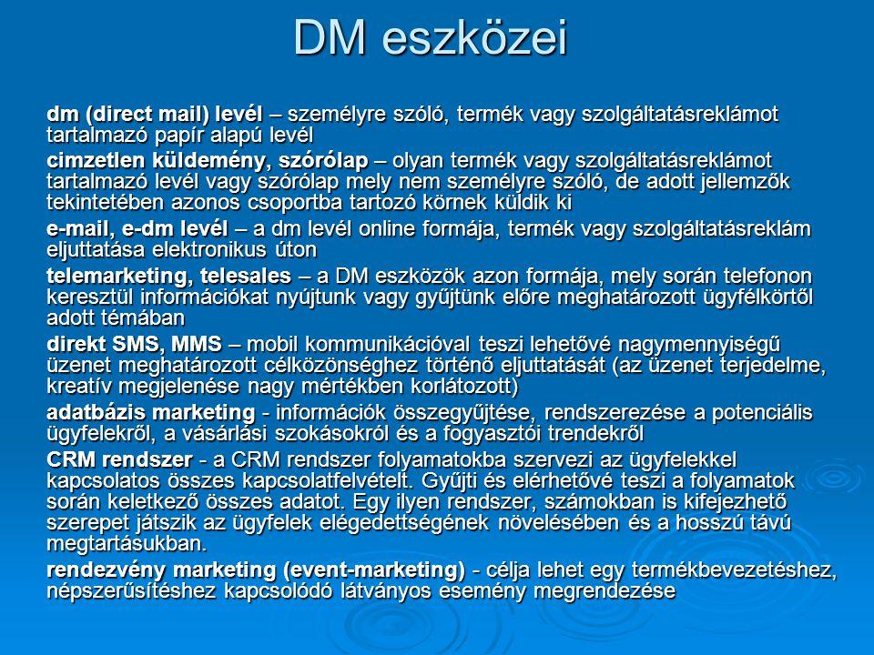 DM eszközei dm (direct mail) levél – személyre szóló, termék vagy szolgáltatásreklámot tartalmazó papír alapú levél.