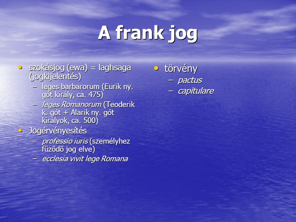 A frank jog törvény szokásjog (ewa) = laghsaga (jogkijelentés) pactus