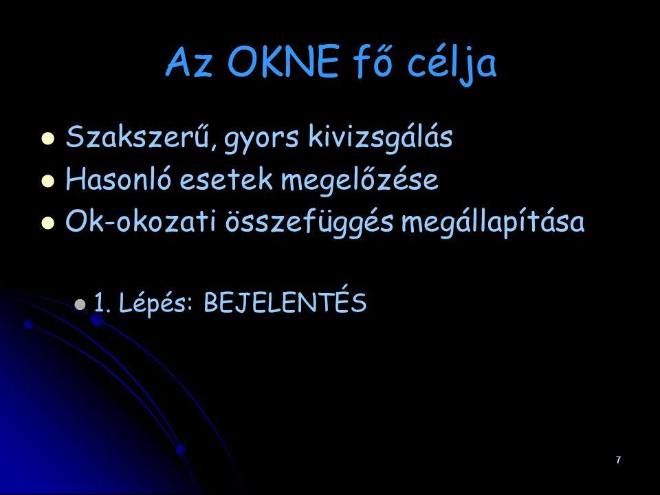 Az OKNE fő célja Szakszerű, gyors kivizsgálás