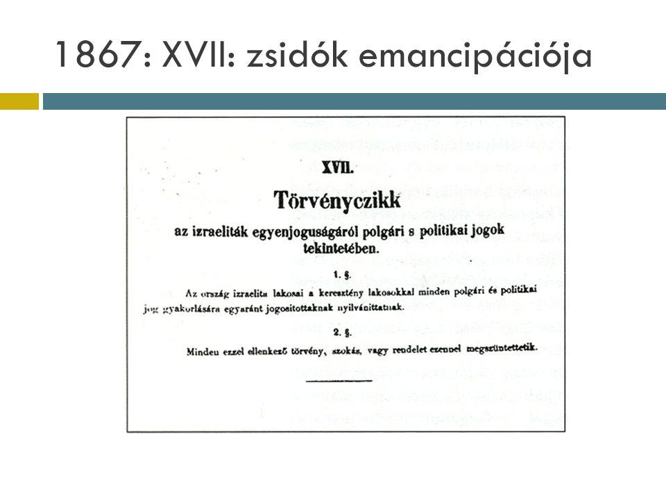 1867: XVII: zsidók emancipációja