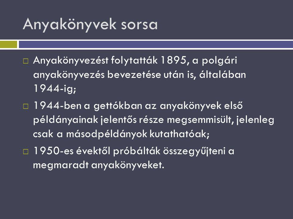 Anyakönyvek sorsa Anyakönyvezést folytatták 1895, a polgári anyakönyvezés bevezetése után is, általában 1944-ig;