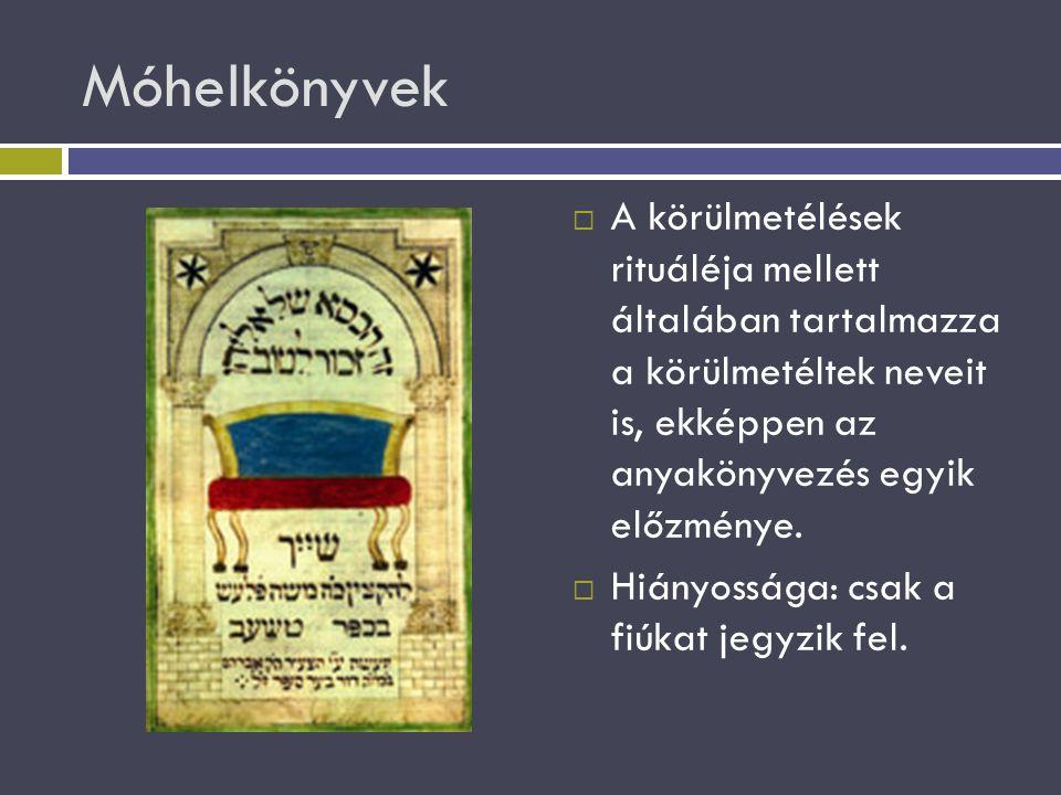 Móhelkönyvek A körülmetélések rituáléja mellett általában tartalmazza a körülmetéltek neveit is, ekképpen az anyakönyvezés egyik előzménye.