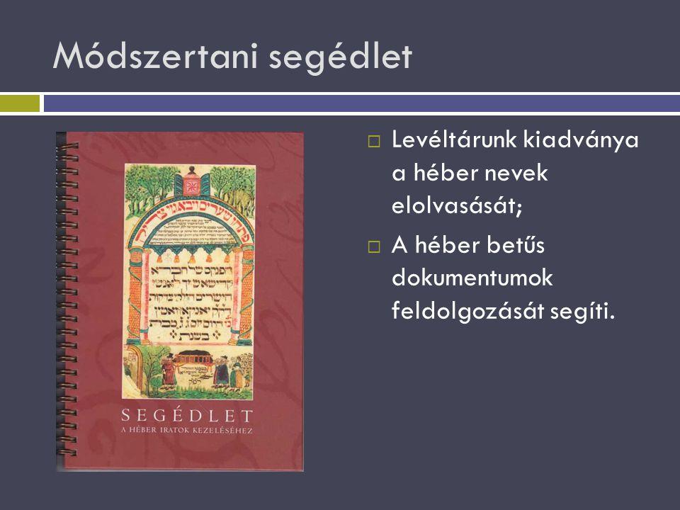 Módszertani segédlet Levéltárunk kiadványa a héber nevek elolvasását;