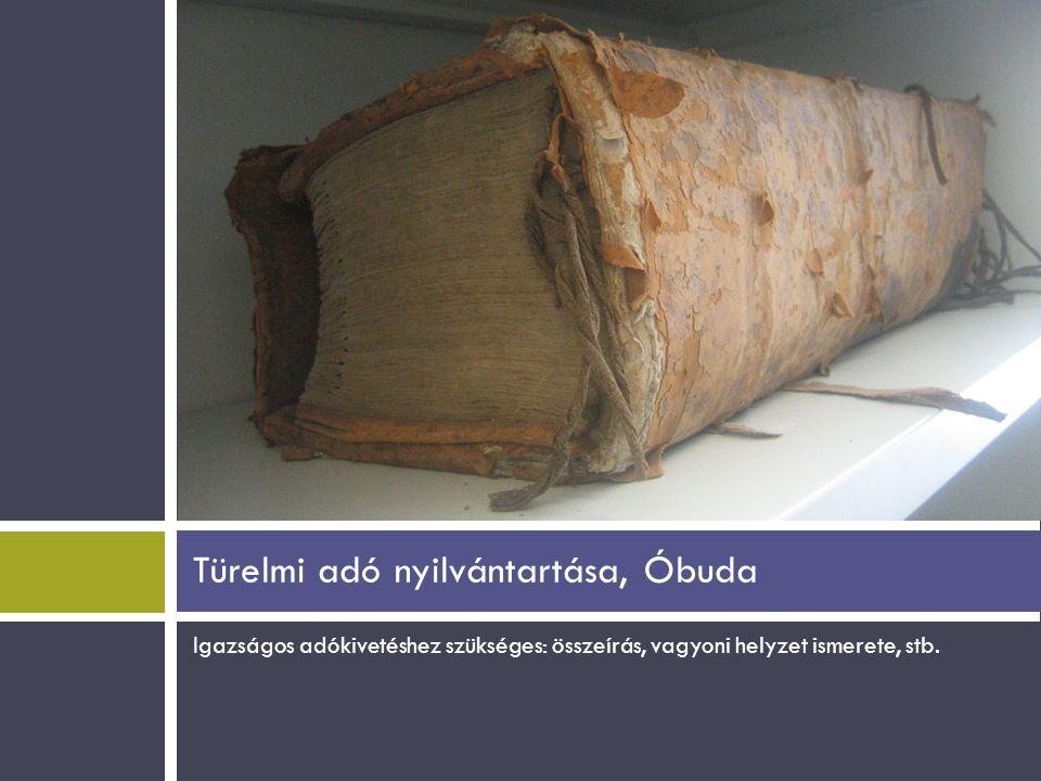 Türelmi adó nyilvántartása, Óbuda
