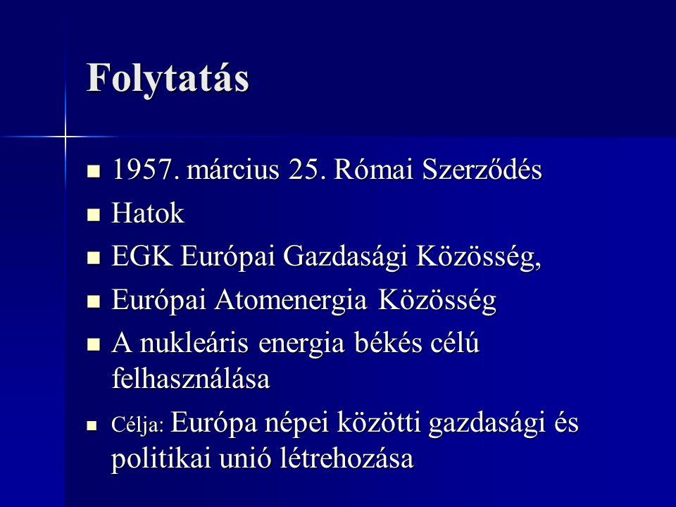 Folytatás 1957. március 25. Római Szerződés Hatok