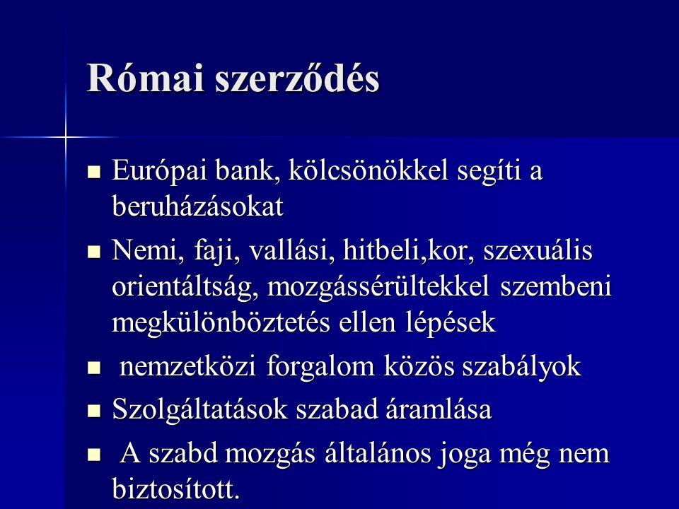 Római szerződés Európai bank, kölcsönökkel segíti a beruházásokat