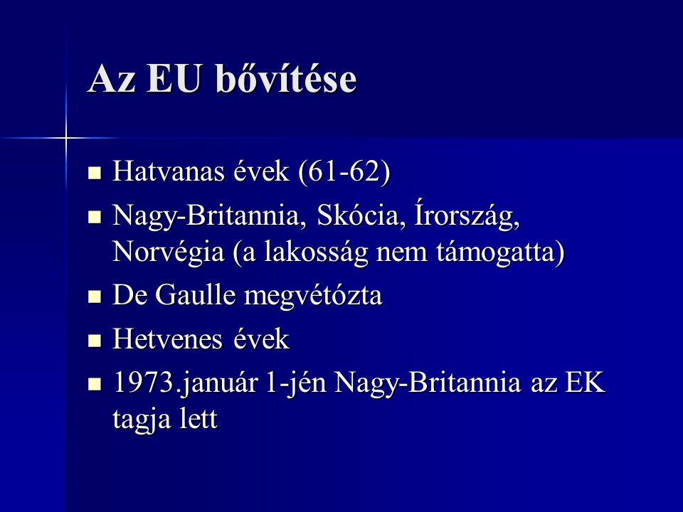 Az EU bővítése Hatvanas évek (61-62)