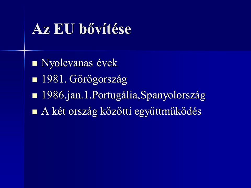 Az EU bővítése Nyolcvanas évek 1981. Görögország