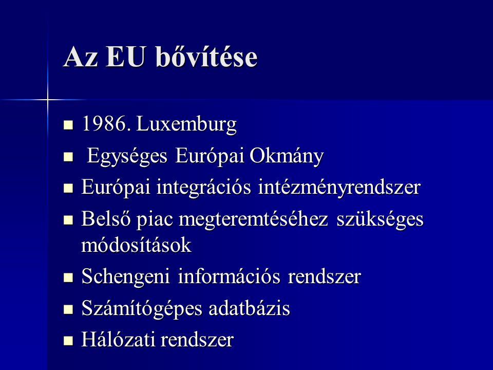 Az EU bővítése 1986. Luxemburg Egységes Európai Okmány