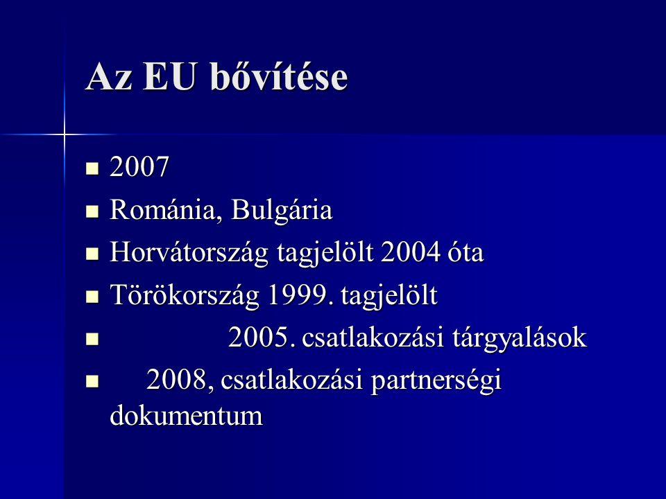 Az EU bővítése 2007 Románia, Bulgária Horvátország tagjelölt 2004 óta