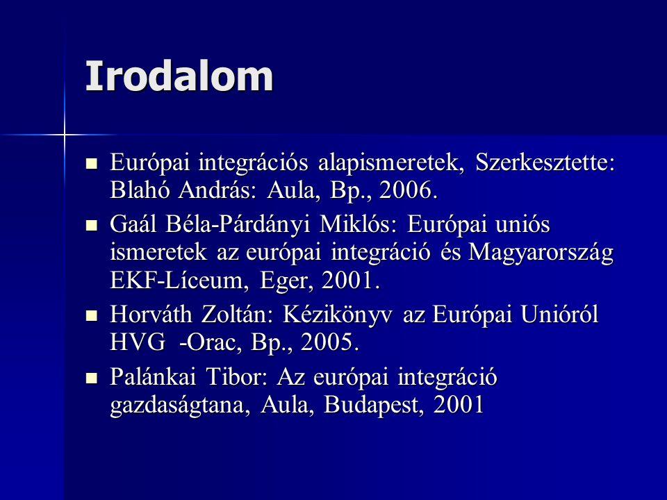 Irodalom Európai integrációs alapismeretek, Szerkesztette: Blahó András: Aula, Bp., 2006.