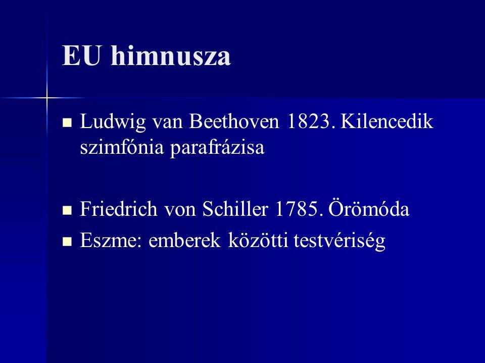 EU himnusza Ludwig van Beethoven 1823. Kilencedik szimfónia parafrázisa. Friedrich von Schiller 1785. Örömóda.