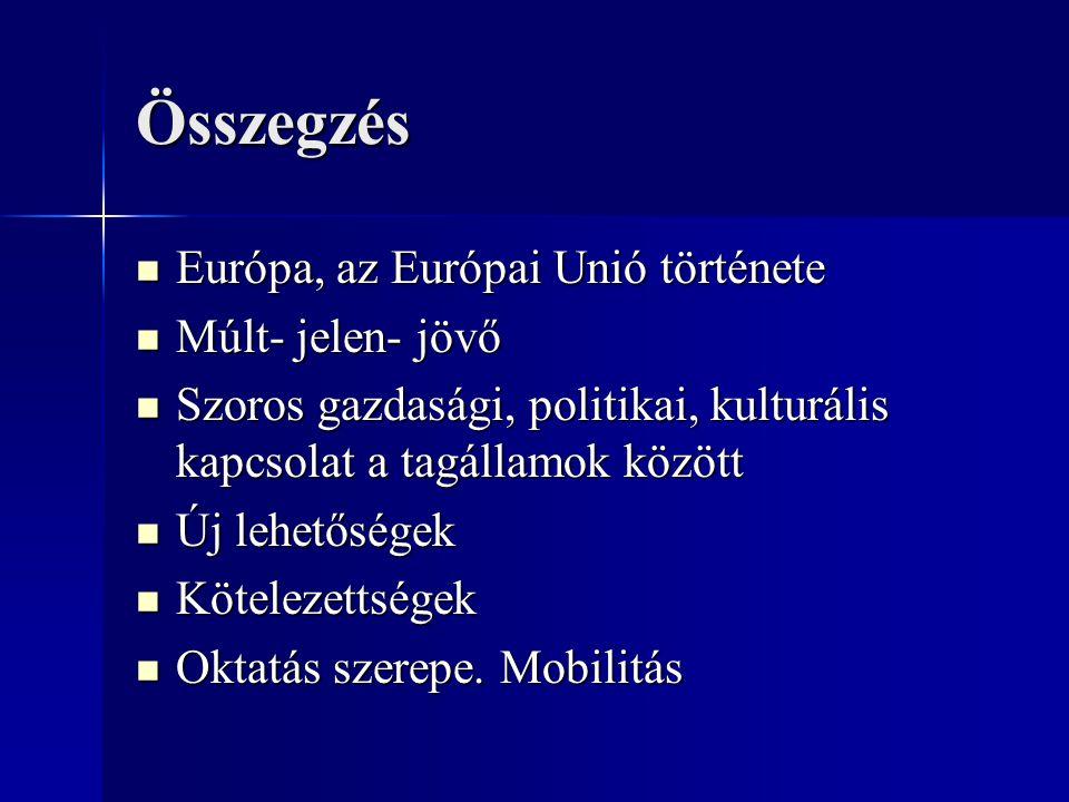 Összegzés Európa, az Európai Unió története Múlt- jelen- jövő