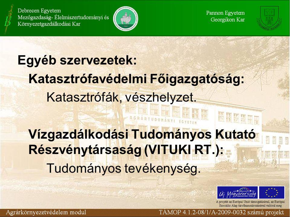 Egyéb szervezetek: Katasztrófavédelmi Főigazgatóság: Katasztrófák, vészhelyzet. Vízgazdálkodási Tudományos Kutató Részvénytársaság (VITUKI RT.):