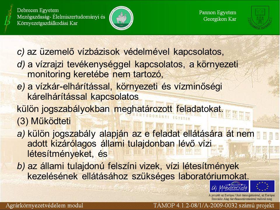 c) az üzemelő vízbázisok védelmével kapcsolatos,