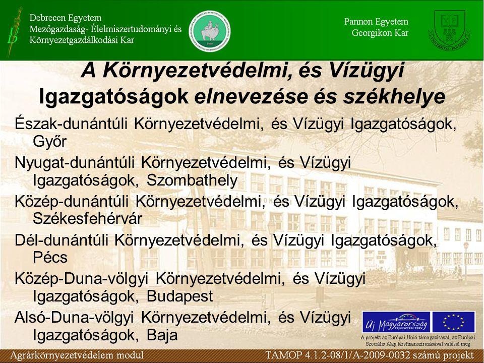 A Környezetvédelmi, és Vízügyi Igazgatóságok elnevezése és székhelye